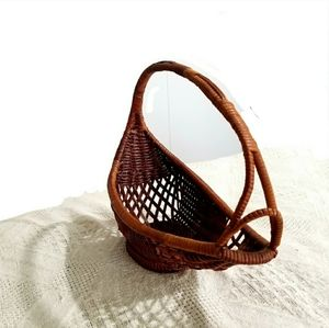Other - Boho Anthro Unique Vintage Wicker Basket
